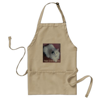 White fluffy cat with attitude standard apron
