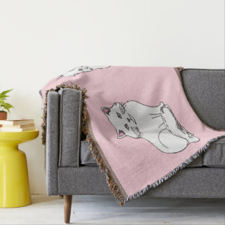 White Fluffy Cats Light Pink Throw Blanket