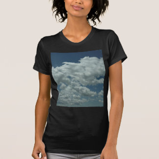 White, fluffy clouds in blue sky tshirts