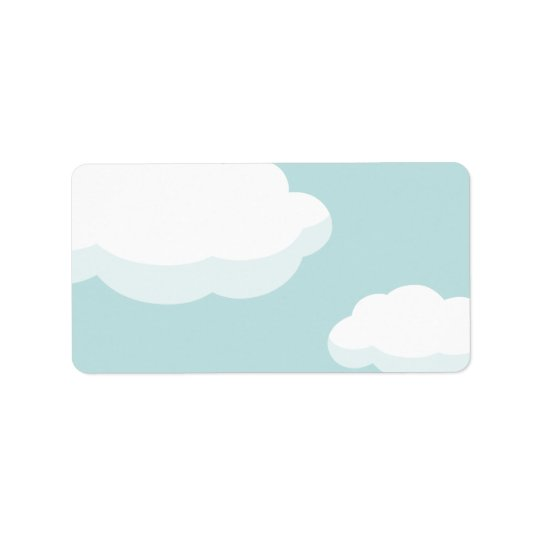 White Fluffy Clouds on Teal Blue Sky labels