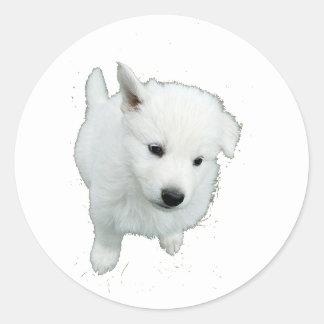 White Fluffy Puppy Classic Round Sticker