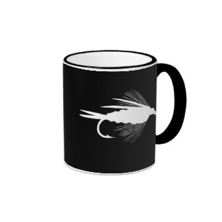 White Fly Fishing lure graphic Coffee Mug