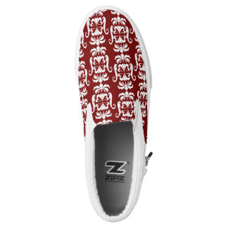 White Flying Heart Damask Slip-On Shoes