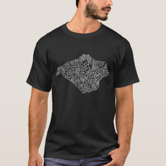 White font Isle of Wight text map mens T shirt