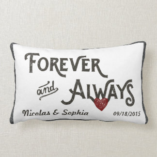 White Forever Always Heart Personalized Wedding Lumbar Pillow