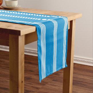 White Four Stripe on Summer Blue Short Table Runner