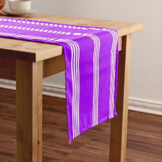 White Four Stripe on Summer Grape Short Table Runner
