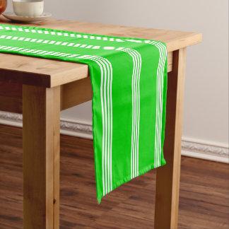 White Four Stripe on Summer Green Short Table Runner