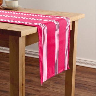 White Four Stripe on Summer Pink Short Table Runner