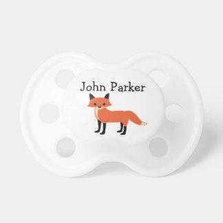 White Fox Animal Binky Pacifier Binky with name