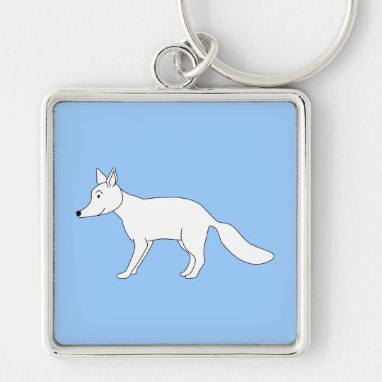 White Fox. Silver-Colored Square Key Ring