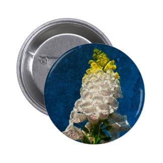 White Foxglove flowers on texture 6 Cm Round Badge