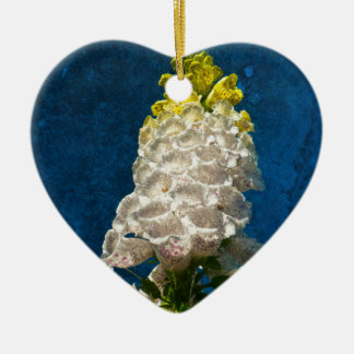 White Foxglove flowers on texture Ceramic Heart Decoration