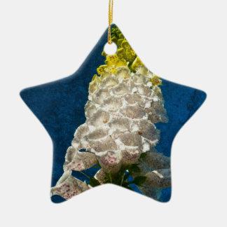 White Foxglove flowers on texture Ceramic Star Decoration