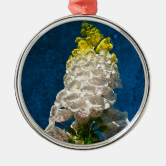 White Foxglove flowers on texture Christmas Ornament