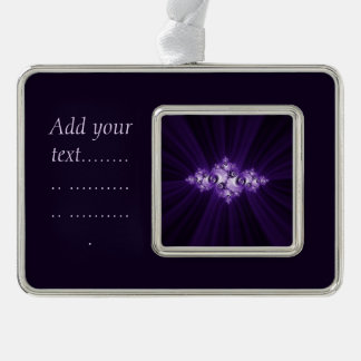 White fractal on purple background. Add text. Silver Plated Framed Ornament