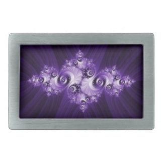 White fractal on purple background belt buckles