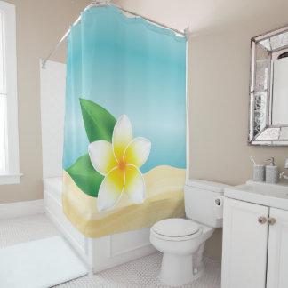 White Frangipani Flower At The Beach Shower Curtain
