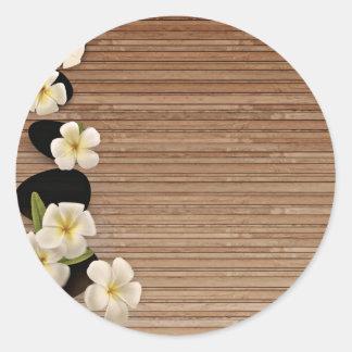 White Frangipani Flowers Classic Round Sticker