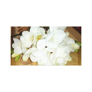 White Freesia Bouquet Canvas Print