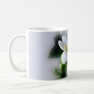 white freesia flower coffee mug