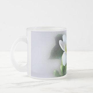 white freesia flower frosted glass coffee mug