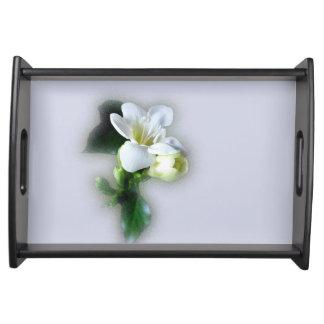 white freesia flower serving platters