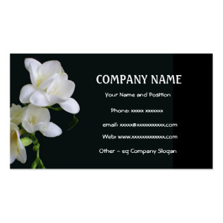 White Freesia on Black Business Card