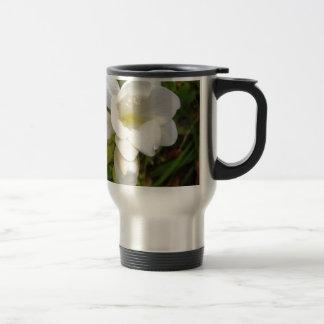 White Freesia Stainless Steel Travel Mug