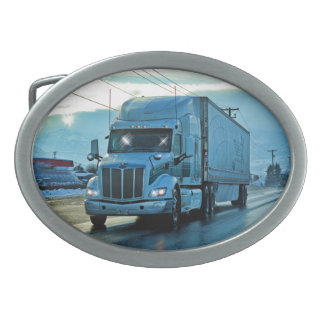 White Freight Truck & Highway Art for Lorry-lovers Belt Buckle