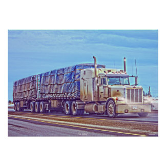 White Freight Truck - Lorry and Highway Art Poster
