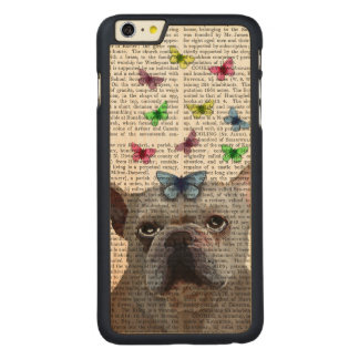 White French Bulldog and Butterflies Carved Maple iPhone 6 Plus Case