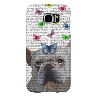 White French Bulldog and Butterflies Samsung Galaxy S6 Cases
