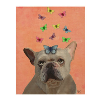 White French Bulldog and Butterflies Wood Wall Art