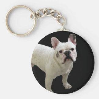 White French Bulldog keychain
