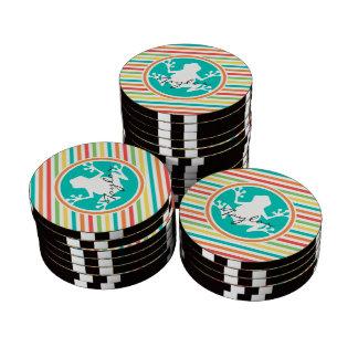 White Frog; Bright Rainbow Stripes Poker Chip Set