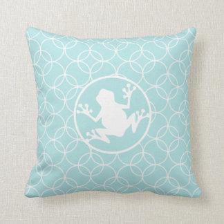 White Frog on Baby Blue Circles Cushion