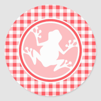 White Frog; Red and White Gingham Round Stickers