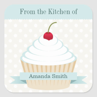 White Frosted Cupcake Kitchen Labels