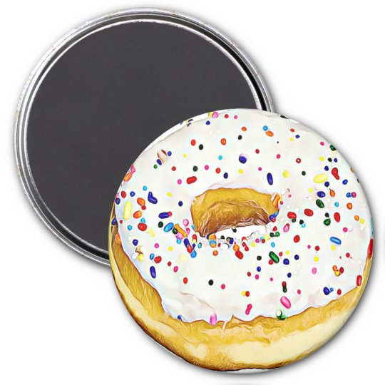 White Frosted Doughnut with Sprinkles Magnet