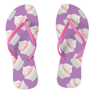 White Frosted Sprinked Cupcakes Flip Flops