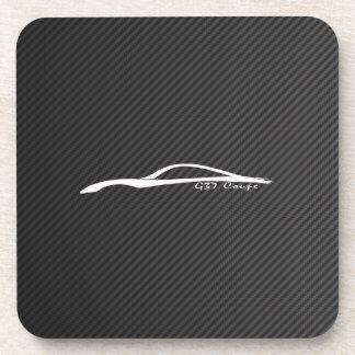 White G37 Coupe Silhouette with Faux Carbon Coaster