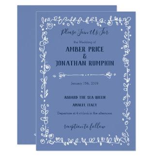 White Garden Border Romantic Wedding Invitations