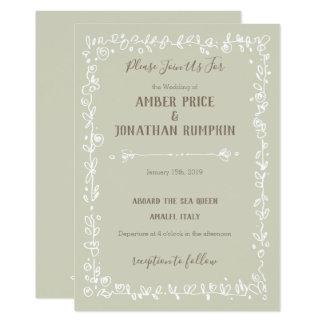 White Garden Border Rustic Wedding Invitations