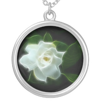 White Gardenia Flower Plant Silver Plated Necklace
