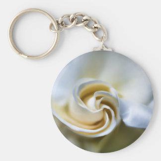 White Gardenia Illustration Basic Round Button Key Ring