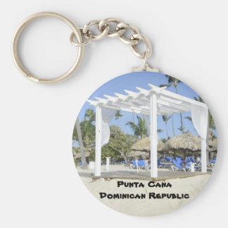 white gazebo on the beach basic round button key ring
