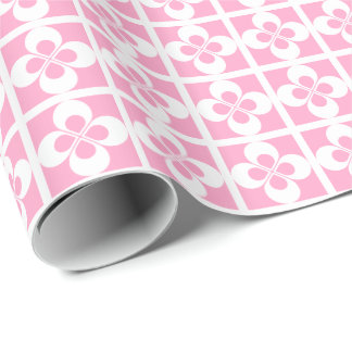 White Geometric Floral on Carnation Pink Gift Wrap Paper