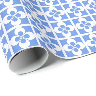 White Geometric Floral on Cornflower Blue Gift Wrap