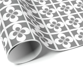 White Geometric Floral on Gray Gift Wrapping Paper
